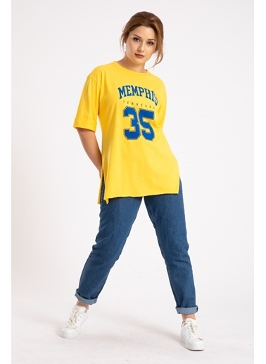 Madame Sare  Kadın Sarı Memphis Baskılı Yırtmaçlı Tişört Sarı
